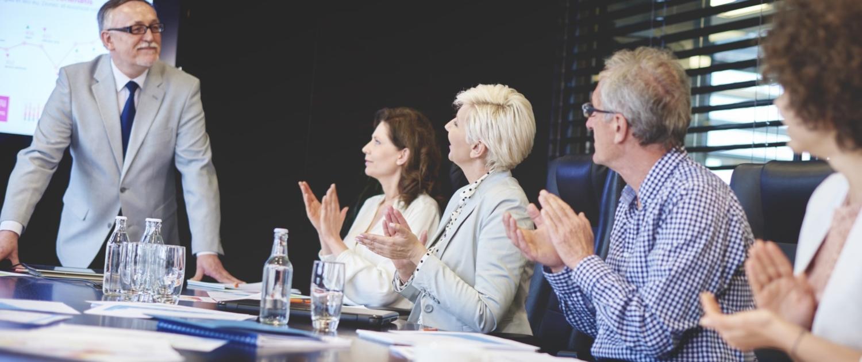 Senior adults business admiring male public speaker