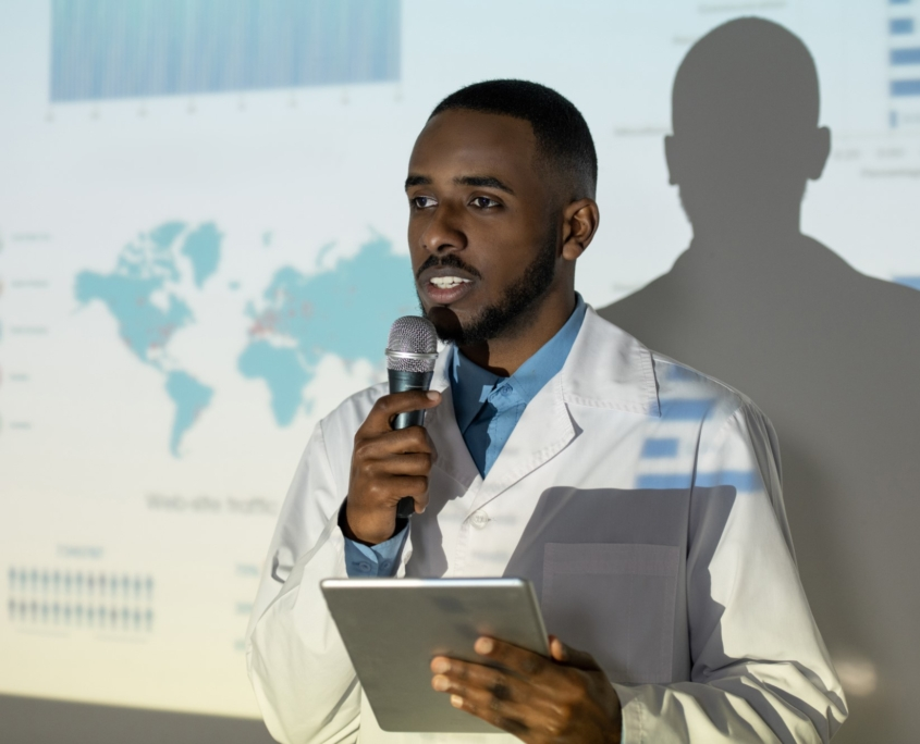 Doctor giving speech at conference